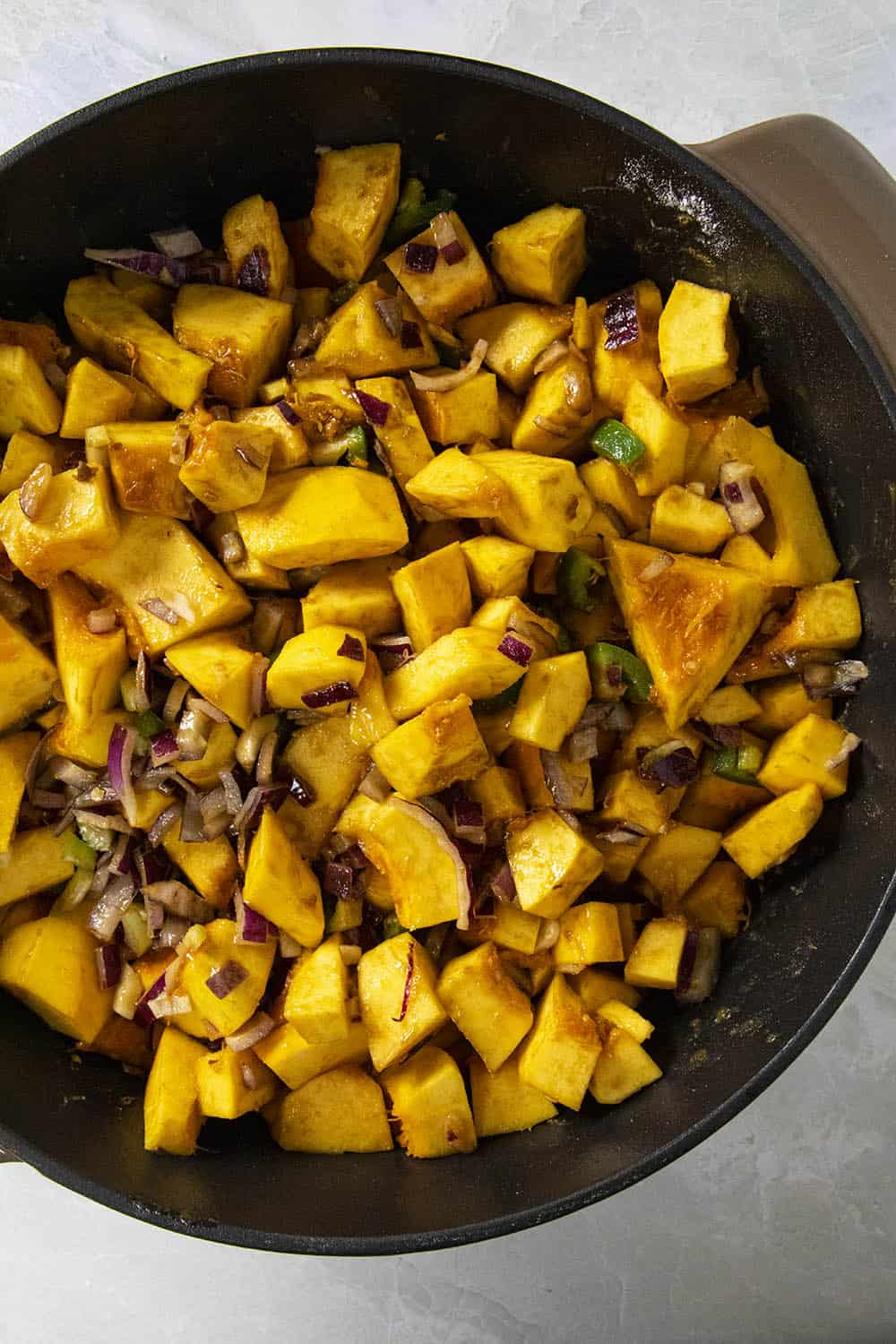 Pumpkin soup in a pot, before cooking