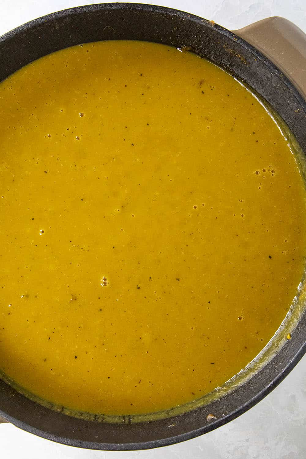 Pumpkin soup in a pot, just processed smooth