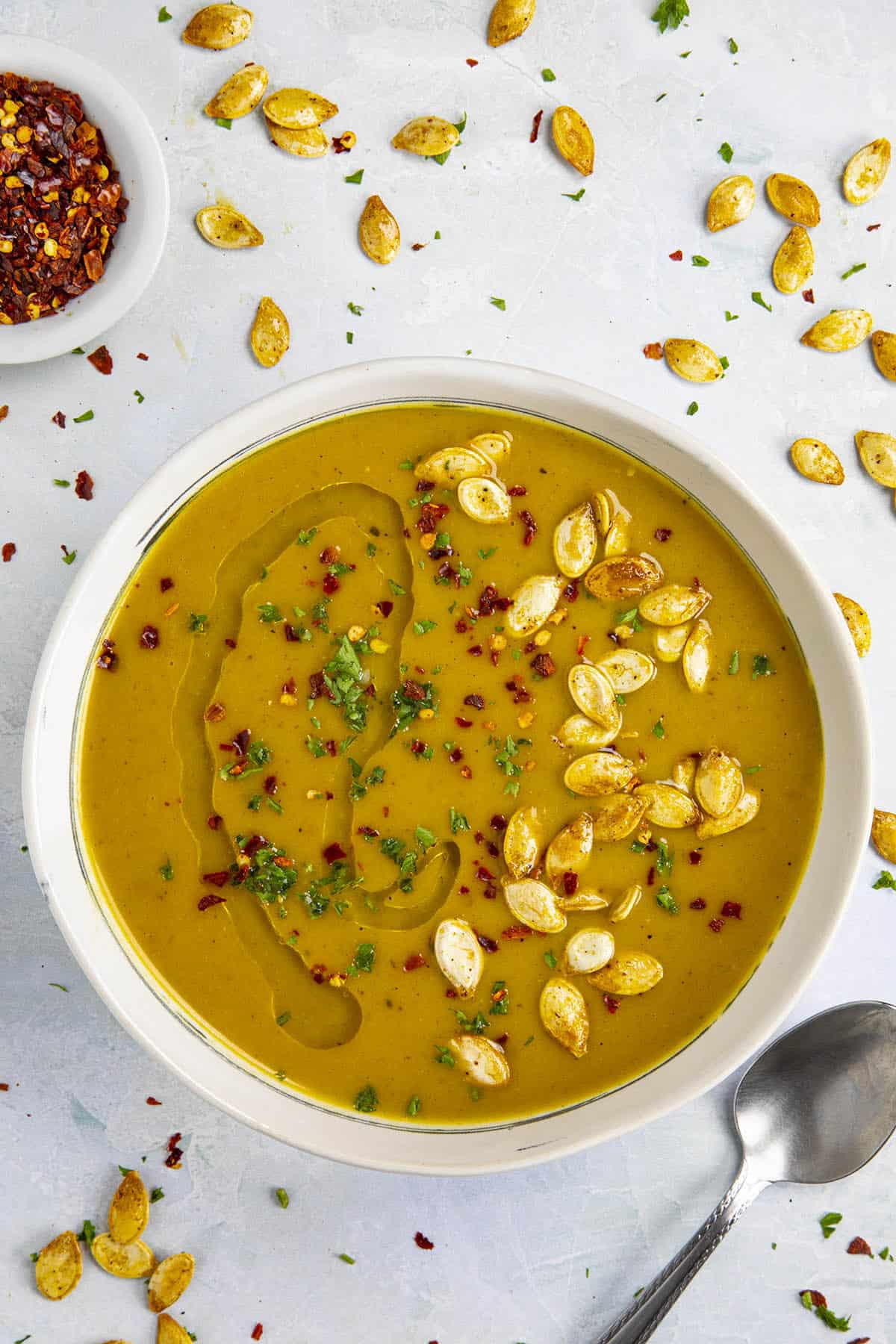 Spicy Pumpkin Soup in a bowl