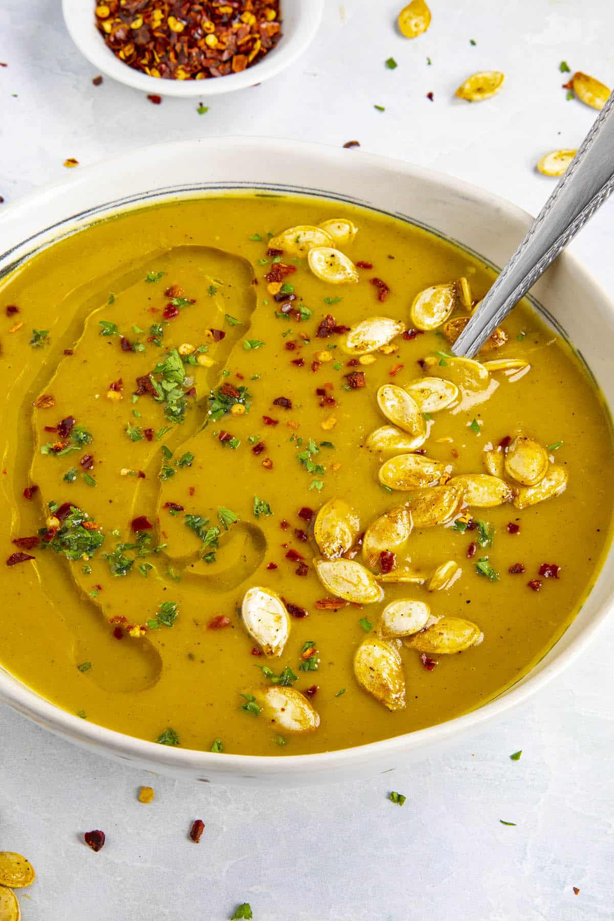 Spicy Pumpkin Soup in a bowl, ready to serve
